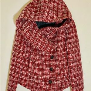 UO x BDG Red Tweed Hooded Jacket